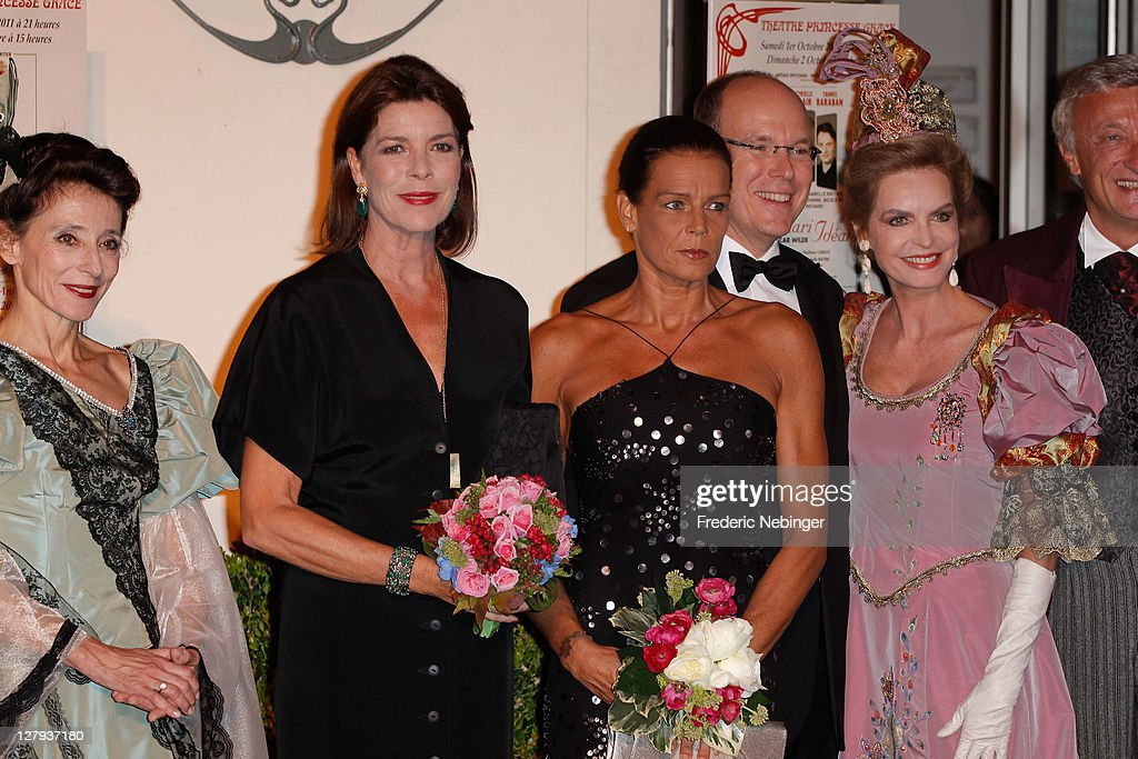 Princess Caroline of Hanover , SAS <a gi-track='captionPersonalityLinkClicked' href=/galleries/search?phrase=Princess+Stephanie+of+Monaco&family=editorial&specificpeople=171100 ng-click='$event.stopPropagation()'>Princess Stephanie of Monaco</a>, SAS <a gi-track='captionPersonalityLinkClicked' href=/galleries/search?phrase=Prince+Albert+II+of+Monaco&family=editorial&specificpeople=201707 ng-click='$event.stopPropagation()'>Prince Albert II of Monaco</a> and French actress <a gi-track='captionPersonalityLinkClicked' href=/galleries/search?phrase=Cyrielle+Claire&family=editorial&specificpeople=606893 ng-click='$event.stopPropagation()'>Cyrielle Claire</a> attend the Theatre Princesse Grace 30th Anniversary Celebration at Theatre Princesse Grace on October 3, 2011 in Monaco, Monaco.
