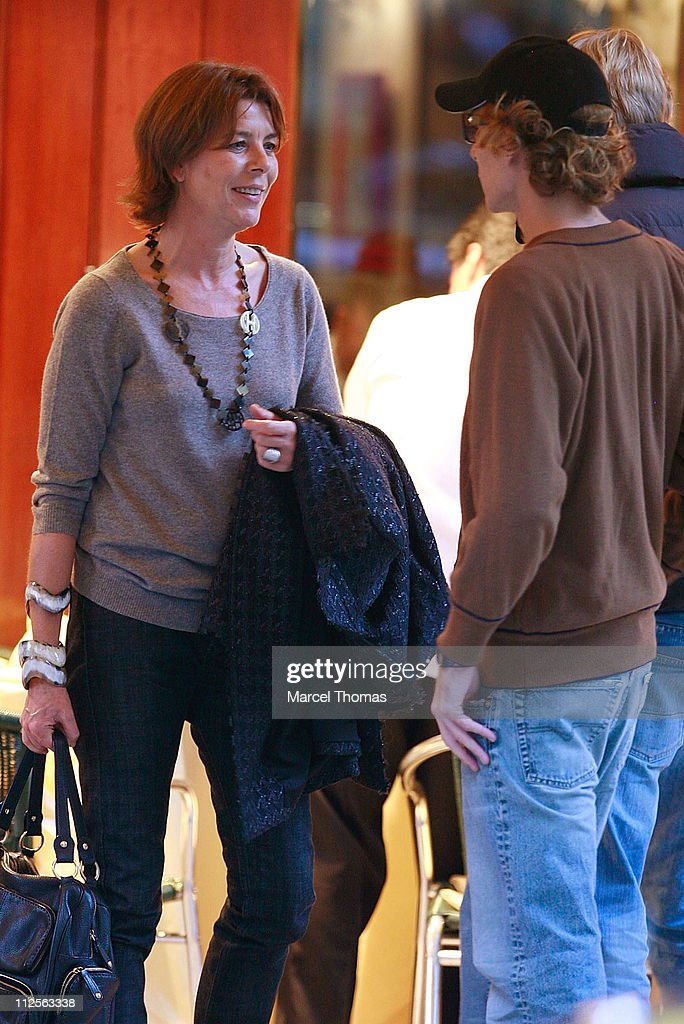 Princess Caroline of Hanover sighting having lunch with son Prince <a gi-track='captionPersonalityLinkClicked' href=/galleries/search?phrase=Pierre+Casiraghi&family=editorial&specificpeople=238946 ng-click='$event.stopPropagation()'>Pierre Casiraghi</a> at Cipriani restaurant in SOHO on October 26 2007 in New York City
