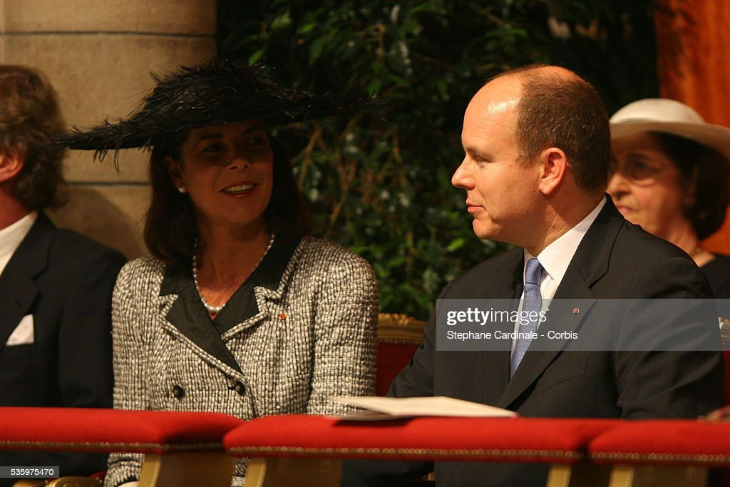 Princess Caroline of Hanover smiles at her brother, Prince Albert II of Monaco during the enthronement mass in Monaco Cathedral. Prince Albert II, 47, took over as ruler of the principality following the death of his father, Prince Rainier in April.
