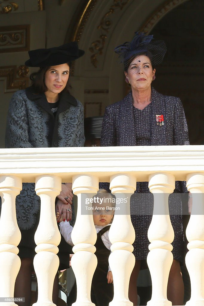 Princess Caroline of Hanover, Tatiana Santo Domingo and Sacha Casiraghi attend the National Day Parade as part of Monaco National Day Celebrations at Monaco Palace on November 19, 2014 in Monaco, Monaco.