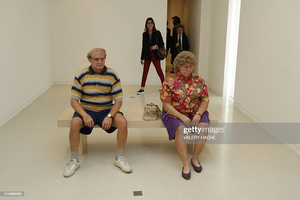 Princess Caroline of Hanover visits the 'Duane Hanson' exhibition at the 'Nouveau Musée National de Monaco' in Monaco on March 15, 2016. American sculptor Duane Hanson (1925-1996) created lifelike sculptures portraying working-class Americans and overlooked members of society. / AFP / VALERY