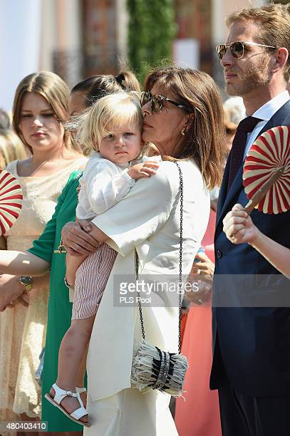 Princess Caroline of Hanover with her grandson Sasha Casiraghi and Andrea Casiraghi attend the First Day of the 10th Anniversary on the Throne...