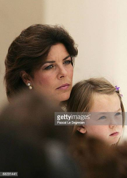 Princess Caroline of Hanover with Princess Alexandra attend a reception for Monegasque citizens hosted by His Serene Highness Prince Albert II on...