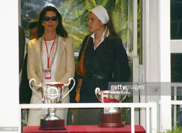 Princess Caroline of Monaco a member of the Grimaldi family stands with her daughter Charlotte Casiraghi prior to the presentation ceremony of the...