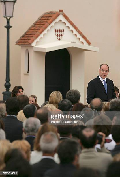 Princess Caroline of Monaco and her daughter Princess Alexandra look on as Prince Albert II of Monaco makes a speech at a reception for Monegasque...