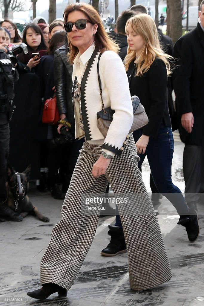 Princess Caroline of Monaco and Princess Alexandra of Hanover arrive at the Chanel show as part of the Paris Fashion Week Womenswear Fall/Winter 2016/2017 on March 8, 2016 in Paris, France.