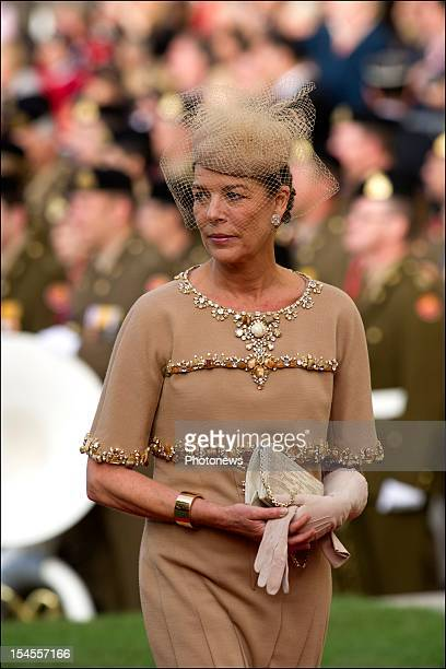 Princess Caroline of Monaco arrives at the Cathedral before the wedding ceremony of Prince Guillaume to Stephanie de Lannoy at the Cathedral of our...