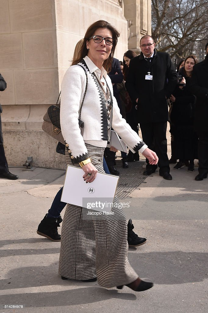 Princess Caroline of Monaco leave Chanel Fashion show during Paris Fashion Week : Womenswear Fall Winter 2016/2017 on March 8, 2016 in Paris, France.