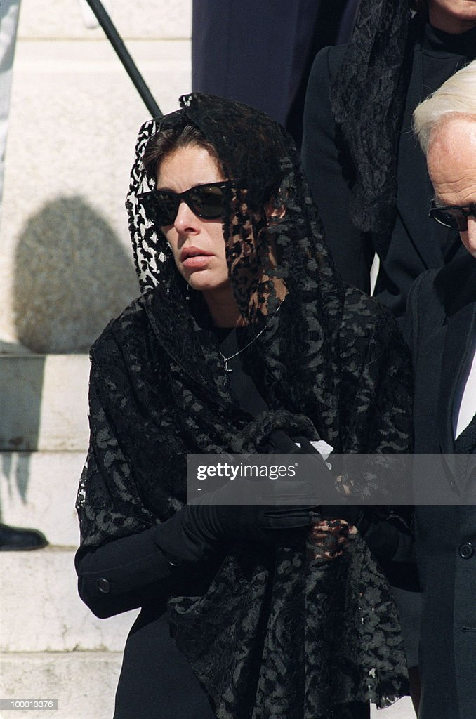 Princess Caroline of Monaco leaves 06 October 1990 the Monaco cathedral after the funeral ceremony for her husband Stefano Casiraghi who was killed in an offshore powerboat racing accident off the coast of Monaco 03 October 1990 while defending his World Off-shore title.