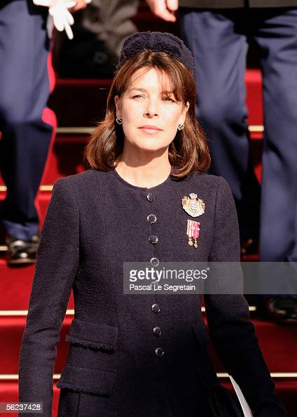 Princess Caroline of Monaco leaves Monaco Cathedral as part of Monaco's National Day celebrations which this year doubles as Prince Albert II of...