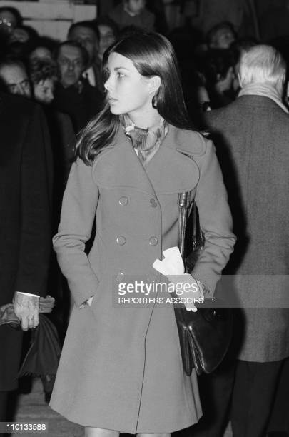 Princess Caroline of Monaco with family at the traditionnal religious festival Ste Devote on January 29th 1971