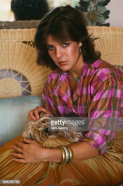 Princess Caroline of Monaco with her dog Tiffany Monte Carlo Monaco 1977