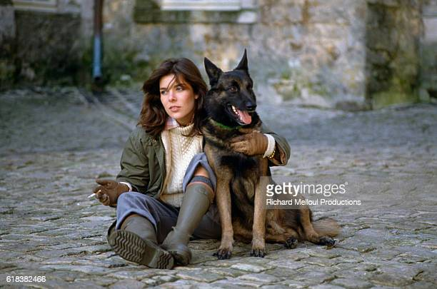 Princess Caroline of Monaco with her pet German shepherd at the royal Grimaldi family's French villa Two months earlier Princess Grace formerly Grace...