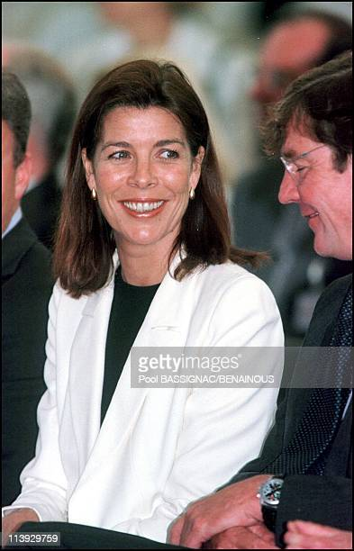 Princess Caroline prince Ernst August of Hanover prince Rainier and prince Albert at the opening of the monacan pavilionr of 'Hanover 2000' in...