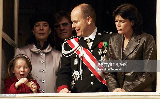 Princess Caroline with her daughter Princess Alexandra Prince Ernst of Hanover Prince Albert and Princess Stephanie stand at a balcony as part of the...