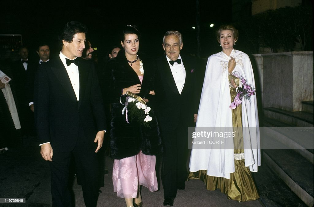 Princess Caroline with her husband <a gi-track='captionPersonalityLinkClicked' href=/galleries/search?phrase=Philippe+Junot&family=editorial&specificpeople=624127 ng-click='$event.stopPropagation()'>Philippe Junot</a> and her parents Princer Rainier and Princess Grace of Monaco arriving at a party for the 100th birthday of the Opera house on January 25, 1979 in Monaco.