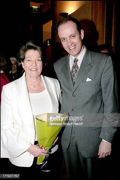 Princess Chantal of France and Son Neveu Prince Jean D' Orleans Exhibition launch 'Paris Insolite' of the paintings of the Princess Chantal of France...