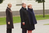 Princess Charlene of Monac Prince Albert II of Monaco and Lithuania's President Dalia Grybauskaite arrive for an official welcoming ceremony in the...