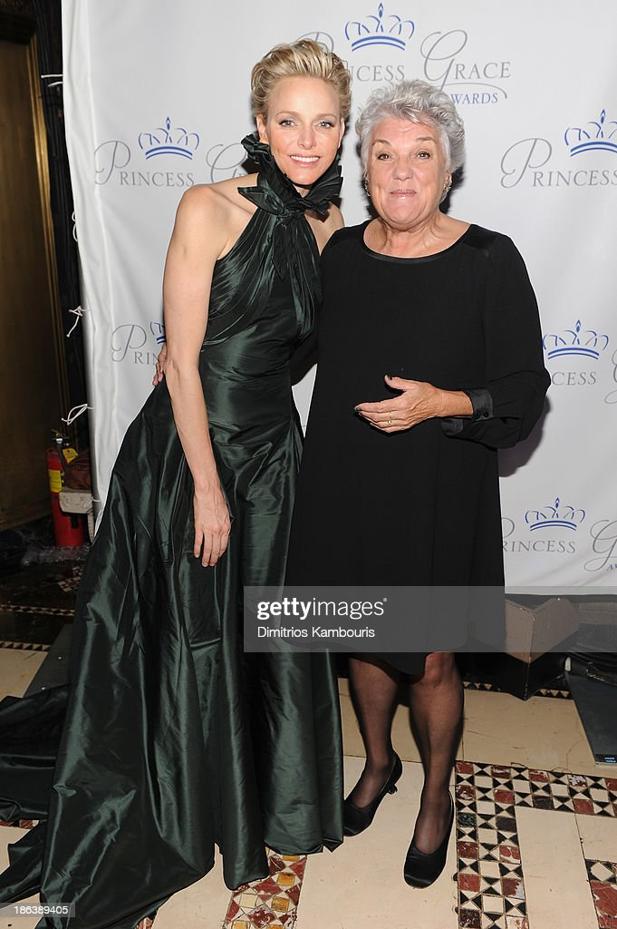 Princess Charlene of Monaco and actress <a gi-track='captionPersonalityLinkClicked' href=/galleries/search?phrase=Tyne+Daly&family=editorial&specificpeople=207055 ng-click='$event.stopPropagation()'>Tyne Daly</a> attend the 2013 Princess Grace Awards Gala at Cipriani 42nd Street on October 30, 2013 in New York City.