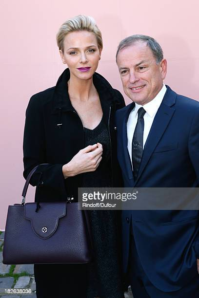 Princess Charlene of Monaco and CEO Louis Vuitton Michael Burke arriving at Louis Vuitton show as part of the Paris Fashion Week Womenswear...