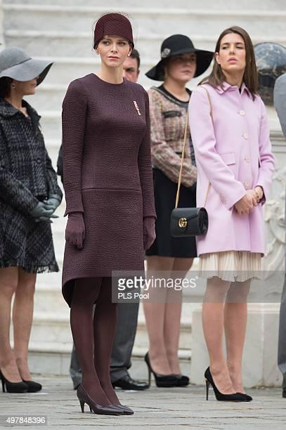 Princess Charlene of Monaco and Charlotte Casiraghi attend the Monaco National Day Celebrations on November 19 2015 in Monaco Monaco