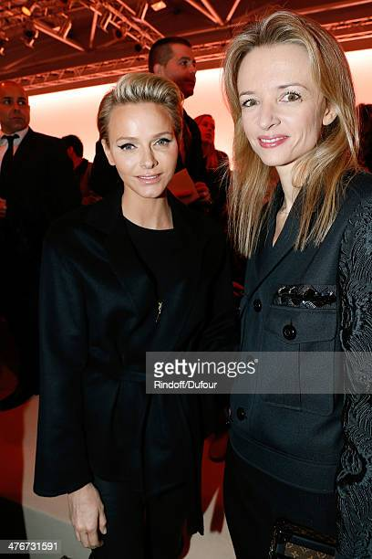 Princess Charlene of Monaco and Delphine Arnault attend the Louis Vuitton show as part of the Paris Fashion Week Womenswear Fall/Winter 20142015 on...