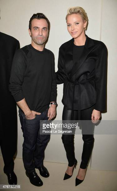Princess Charlene of Monaco and designer Nicolas Ghesquiere pose backstage after the Louis Vuitton show as part of the Paris Fashion Week Womenswear...