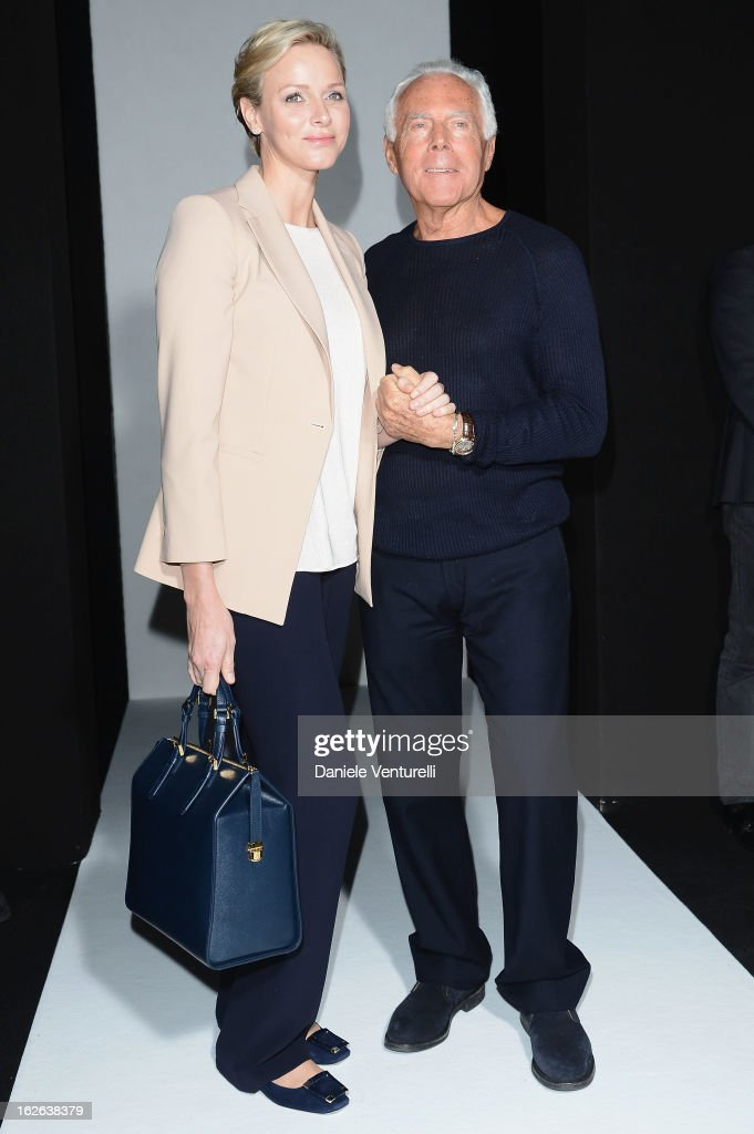 Princess Charlene of Monaco and Giorgio Armani attend the Giorgio Armani fashion show during Milan Fashion Week Womenswear Fall/Winter 2013/14 on February 25, 2013 in Milan, Italy.