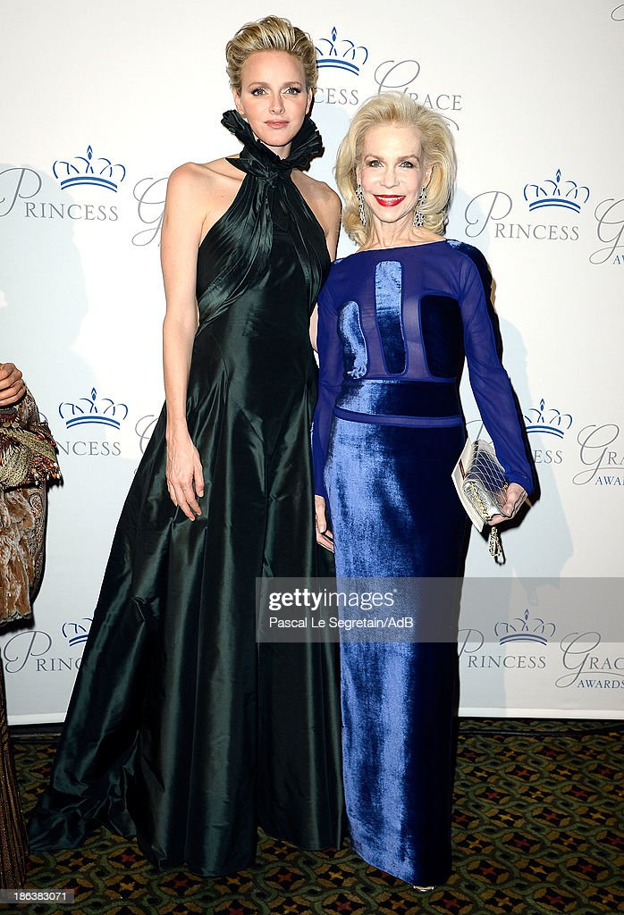 Princess Charlene of Monaco and <a gi-track='captionPersonalityLinkClicked' href=/galleries/search?phrase=Lynn+Wyatt&family=editorial&specificpeople=550414 ng-click='$event.stopPropagation()'>Lynn Wyatt</a> attend the 2013 Princess Grace Awards Gala at Cipriani 42nd Street on October 30, 2013 in New York City.