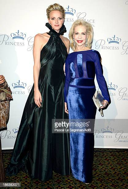 Princess Charlene of Monaco and Lynn Wyatt attend the 2013 Princess Grace Awards Gala at Cipriani 42nd Street on October 30 2013 in New York City