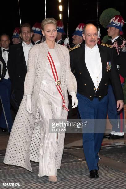 Princess Charlene of Monaco and Prince Albert II of Monaco arrive at the Monaco National Day Gala in Grimaldi Forum on November 19 2017 in Monaco...