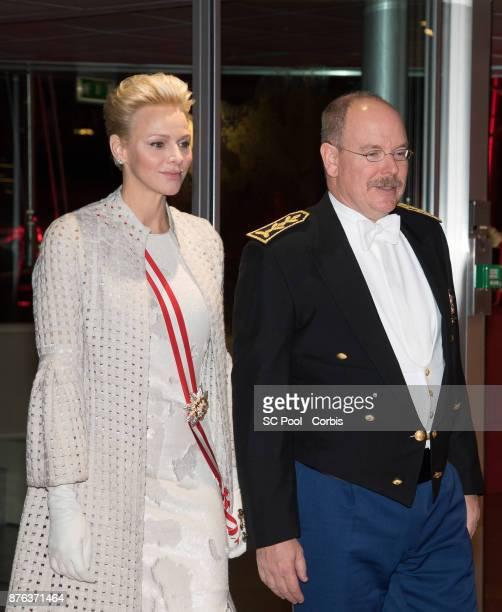 MONACO NOVEMBER 19 Princess Charlene of Monaco and Prince Albert II of Monaco arrive at the Monaco National Day Gala in Grimaldi Forum on November 19...