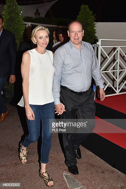 Princess Charlene of Monaco and Prince Albert II of Monaco arrive on the Palace Place during the Second Day of the 10th Anniversary on the Throne...