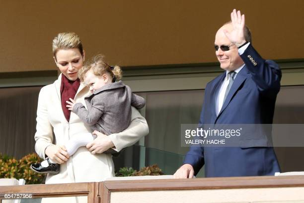 Princess Charlene of Monaco and Prince Albert II of Monaco arrive with their daughter princess Gabriella de Monaco for the International Rugby...