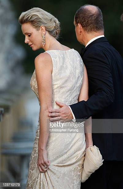 Princess Charlene of Monaco and Prince Albert II of Monaco attend the Yorkshire Variety Club Golden Ball at Harewood House on September 4 2011 in...