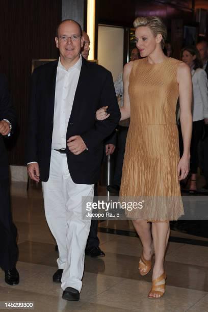 Princess Charlene of Monaco and Prince Albert II of Monaco attend the Billionaire Club Season Opening on May 25 2012 in Monaco Monaco