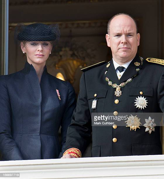 Princess Charlene of Monaco and Prince Albert II of Monaco attend the National Day Parade from the balcony of Monaco Palace as part of Monaco...