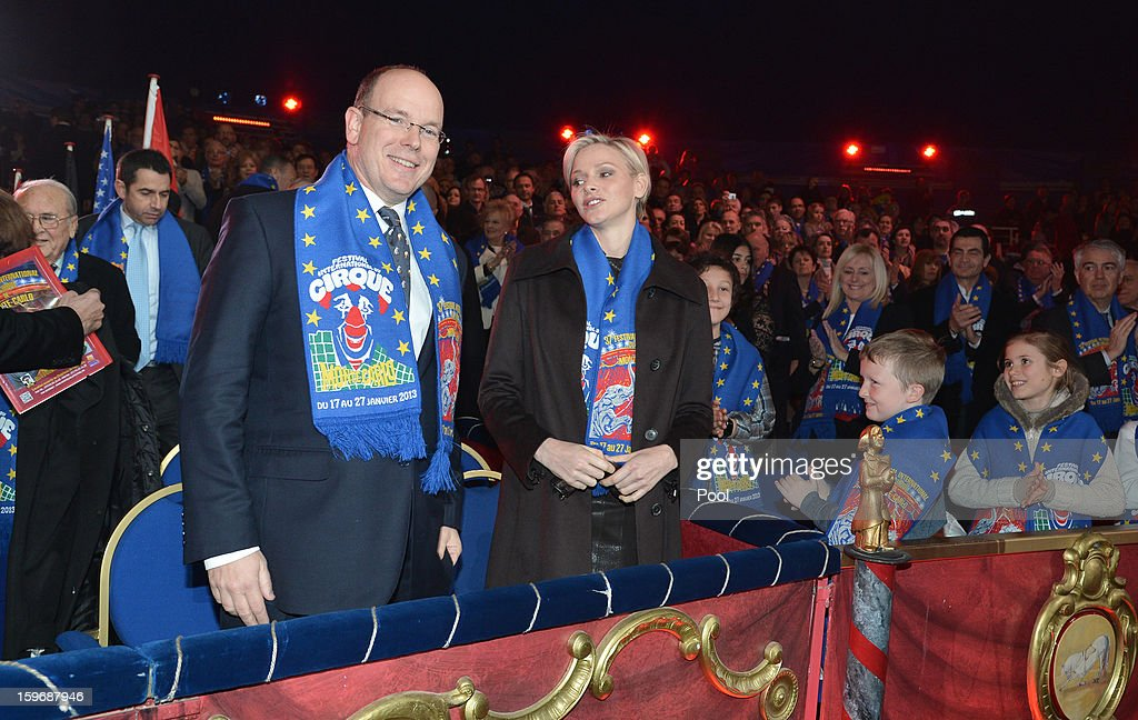Princess Charlene of Monaco and Prince Albert II of Monaco attend the opening of the Monte-Carlo 37th International Circus Festival on January 17, 2013 in Monte-Carlo, Monaco.