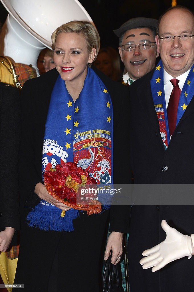 Princess Charlene of Monaco and Prince Albert II of Monaco attend the closing ceremony of the Monte-Carlo 37th International Circus Festival on January 20, 2013 in Monte-Carlo, Monaco.