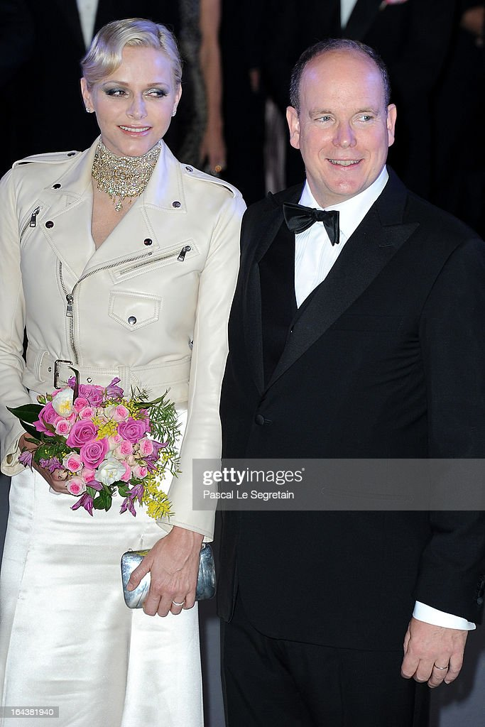 Princess Charlene of Monaco and Prince Albert II of Monaco attend the 'Bal De La Rose Du Rocher' in aid of the Fondation Princess Grace on the 150th Anniversary of the SBM at Sporting Monte-Carlo on March 23, 2013 in Monte-Carlo, Monaco.