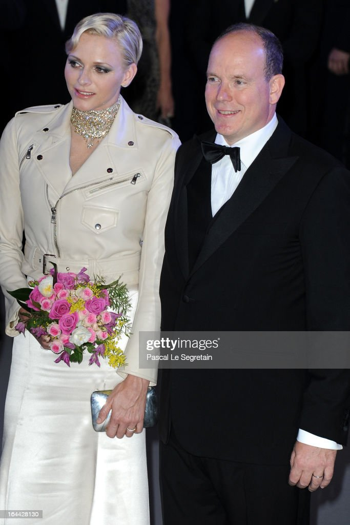 Princess <a gi-track='captionPersonalityLinkClicked' href=/galleries/search?phrase=Charlene+-+Princess+of+Monaco&family=editorial&specificpeople=726115 ng-click='$event.stopPropagation()'>Charlene</a> of Monaco and <a gi-track='captionPersonalityLinkClicked' href=/galleries/search?phrase=Prince+Albert+II+of+Monaco&family=editorial&specificpeople=201707 ng-click='$event.stopPropagation()'>Prince Albert II of Monaco</a> attend the 'Bal De La Rose Du Rocher' in aid of the Fondation Princess Grace on the 150th Anniversary of the SBM at Sporting Monte-Carlo on March 23, 2013 in Monte-Carlo, Monaco.