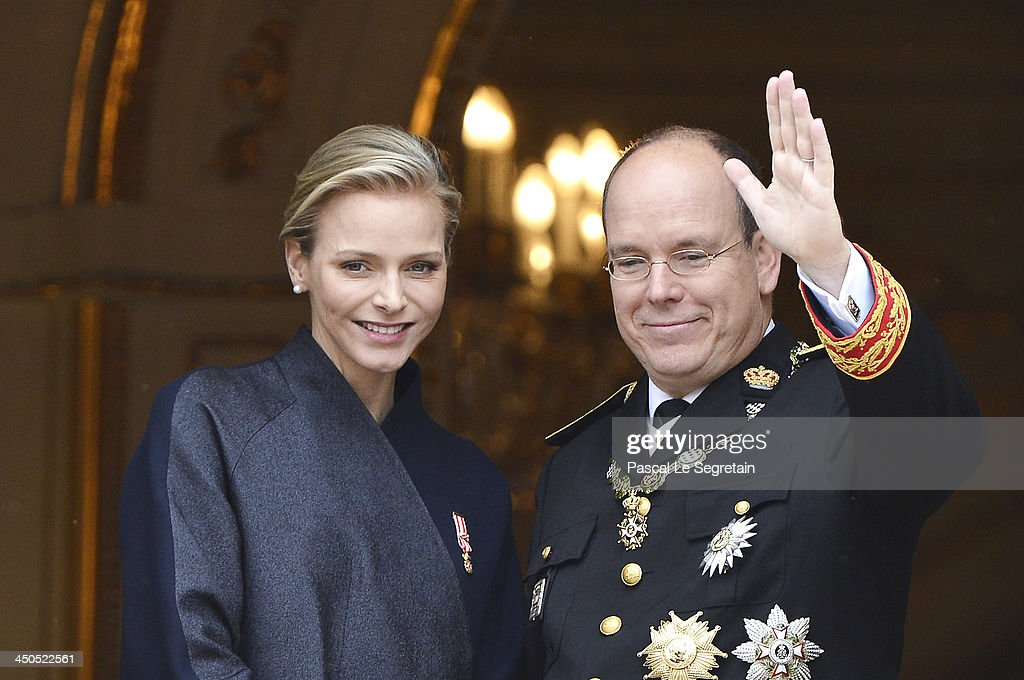 Princess <a gi-track='captionPersonalityLinkClicked' href=/galleries/search?phrase=Charlene+-+Princess+of+Monaco&family=editorial&specificpeople=726115 ng-click='$event.stopPropagation()'>Charlene</a> of Monaco and <a gi-track='captionPersonalityLinkClicked' href=/galleries/search?phrase=Prince+Albert+II+of+Monaco&family=editorial&specificpeople=201707 ng-click='$event.stopPropagation()'>Prince Albert II of Monaco</a> attend the National Day Parade as part of Monaco National Day Celebrations at Monaco Palace on November 19, 2013 in Monte-Carlo, Monaco.