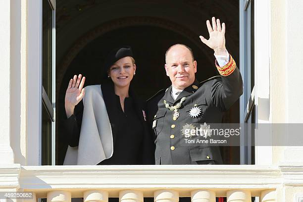 Princess Charlene of Monaco and Prince Albert II of Monaco attend the National Day Parade as part of Monaco National Day Celebrations at Monaco...