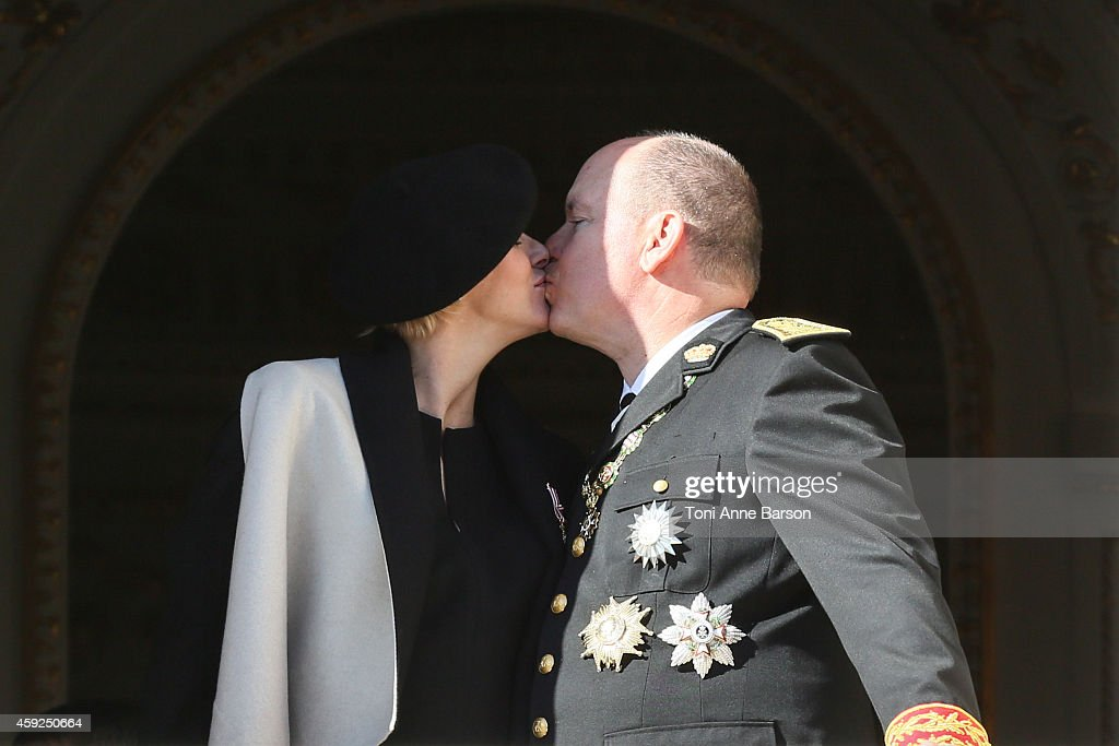 Princess Charlene of Monaco and Prince Albert II of Monaco attend the National Day Parade as part of Monaco National Day Celebrations at Monaco Palace on November 19, 2014 in Monaco, Monaco.