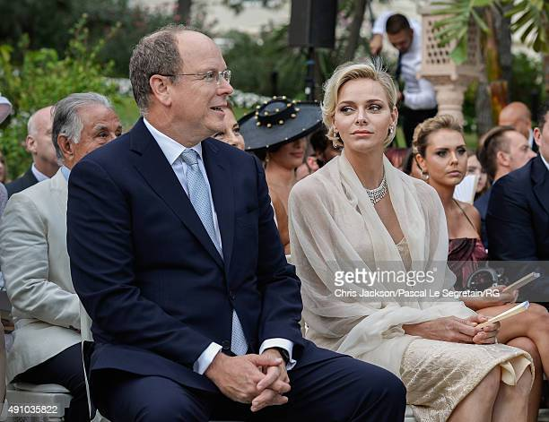 Princess Charlene of Monaco and Prince Albert II of Monaco attend the wedding ceremony of Gareth Wittstock and Roisin Galvin on September 4 2015 in...