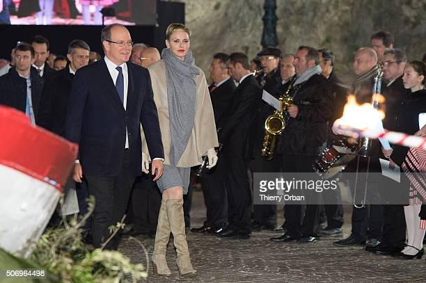 Princess Charlene of Monaco and Prince Albert II of Monaco attend the SainteDevote ceremony on January 26 2015 in Monaco Monaco Sainte devote is the...