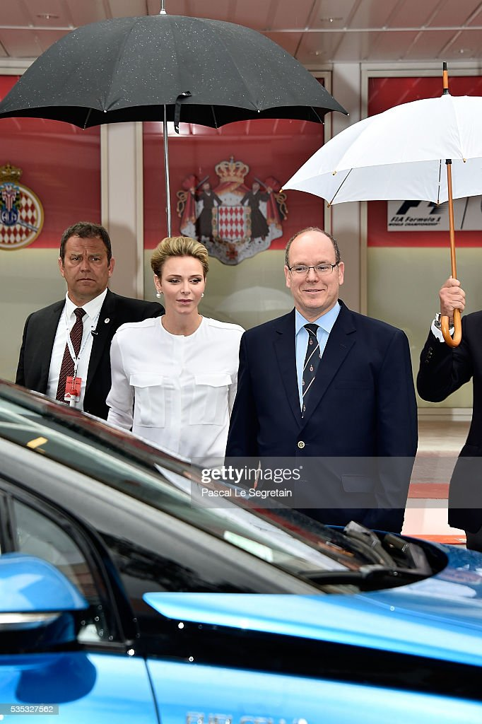 Princess Charlene of Monaco and Prince Albert II of Monaco attend the F1 Grand Prix of Monaco on May 29, 2016 in Monte-Carlo, Monaco.