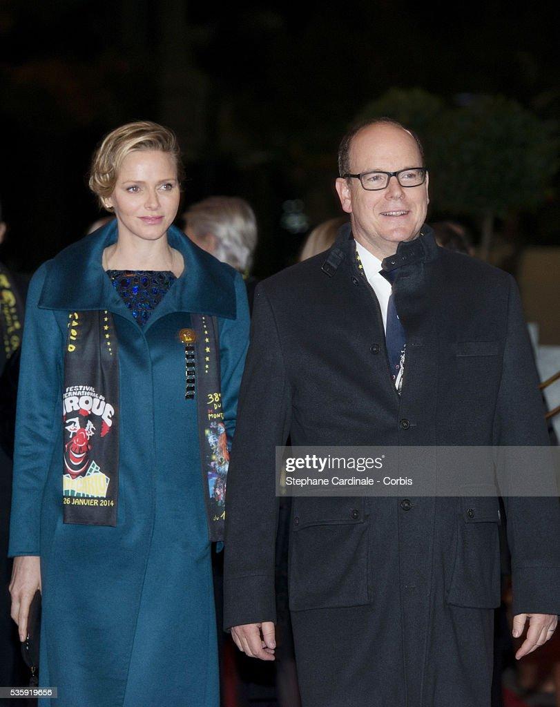 Princess Charlene of Monaco and Prince Albert II of Monaco attend the 38th International Circus Festival on January 21, 2014 in Monte-Carlo, Monaco.