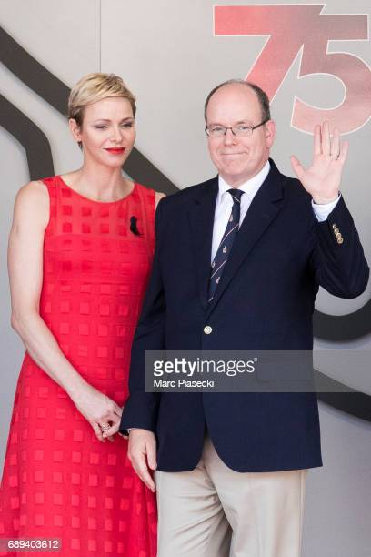 Princess Charlene of Monaco and Prince Albert II of Monaco attend the Monaco Formula 1 Grand Prix at the Monaco street circuit on May 28 2017 in...