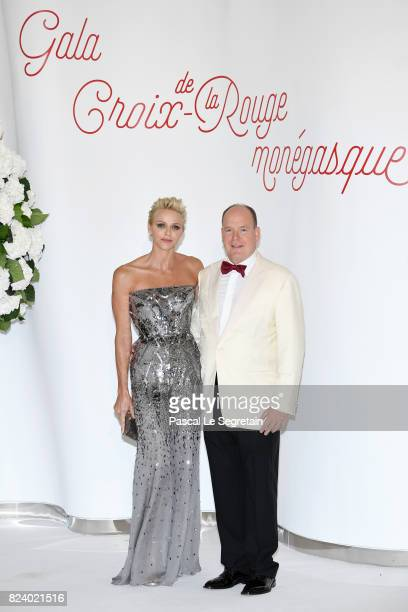 Princess Charlene of Monaco and Prince Albert II of Monaco attend the 69th Monaco Red Cross Ball Gala at Sporting MonteCarlo on July 28 2017 in...